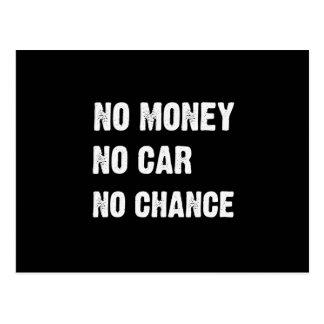 NO MONEY. NO CAR. NO CHANCE. POST CARDS