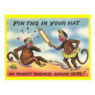 No Monkey Business! Vintage Postcard