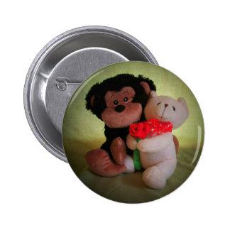 No monkey con mi oso de peluche pin redondo 5 cm