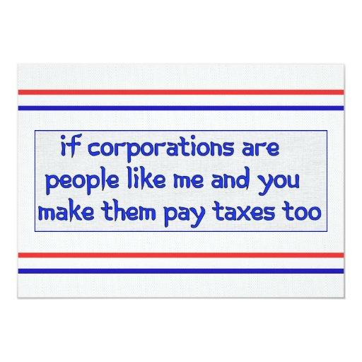 No More Corporate Welfare 5x7 Paper Invitation Card