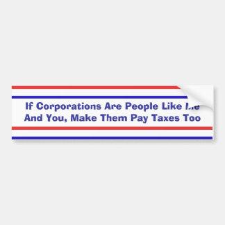 No More Corporate Welfare Car Bumper Sticker