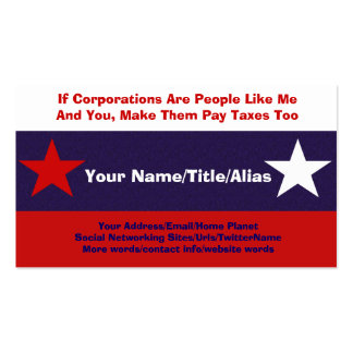 No More Corporate Welfare Business Card