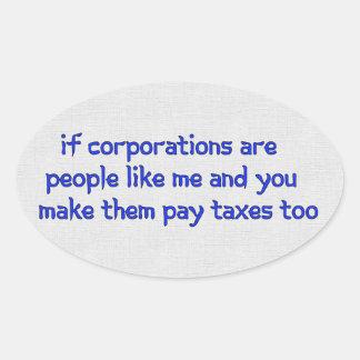 No More Corporate Welfare Oval Sticker