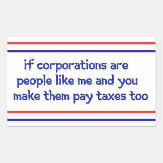 No More Corporate Welfare Rectangle Sticker