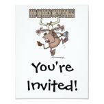 "no more cowbell funny crazy cow cartoon 4.25"" x 5.5"" invitation card"