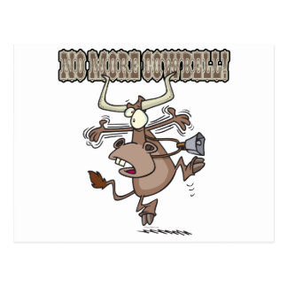 no more cowbell funny crazy cow cartoon postcard