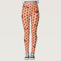 No More MS - Orange Flowered Leggings