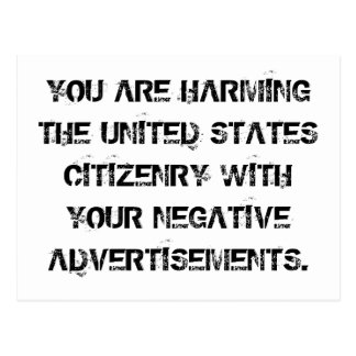 No more negative ads postcard