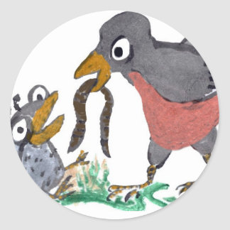 No More Worms Mom says Baby Robin. Classic Round Sticker