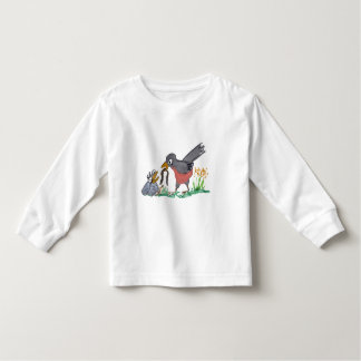 No More Worms Mom says Baby Robin. Toddler T-shirt