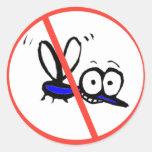 no mosquito funny cartoon design classic round sticker