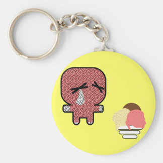 no mouth! basic round button keychain
