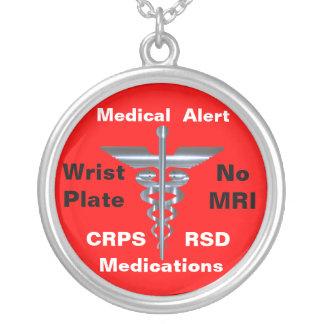 No MRI Medical Alert CRPS/RSD Medications Silver Plated Necklace