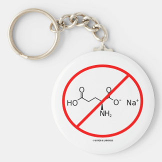 No MSG (No Monosodium Glutamate) Basic Round Button Keychain