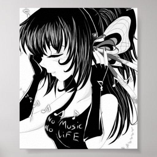 Anime Girl Music: No Music No Life Anime Girl Poster