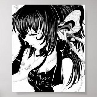 No Music No Life Anime Girl Print