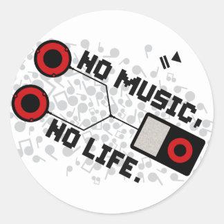 NO MUSIC, NO LIFE. CLASSIC ROUND STICKER