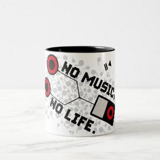 NO MUSIC, NO LIFE. Two-Tone COFFEE MUG