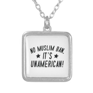 No Muslim Ban Silver Plated Necklace
