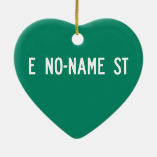 No-Name Street, Street Sign, Arizona, US Double-Sided Heart Ceramic Christmas Ornament