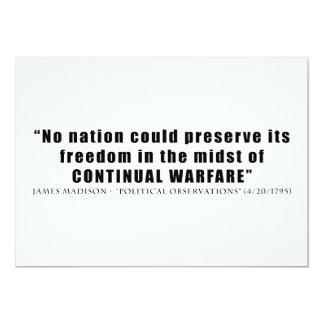 No nation can preserve freedom continual warfare 5x7 paper invitation card
