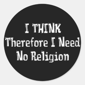 No necesite la religión pegatina redonda