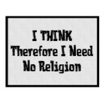 No necesite la religión tarjeta postal