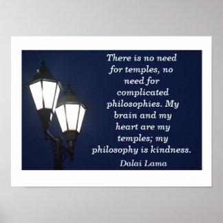 No need for temples - Dalai Lama quote - art print