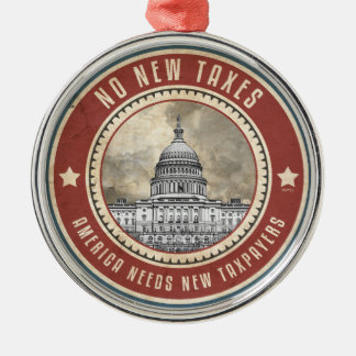 No New Taxes Round Metal Christmas Ornament