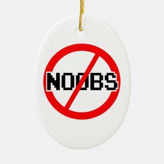 NO NOOBS - geek/hacker/pc/code monkey Ceramic Ornament
