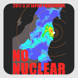 NO NUCLEAR MAP SQUARE STICKER