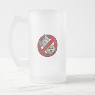 No nuclear weapons frosted glass beer mug