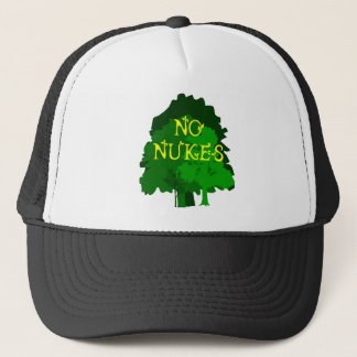 No Nukes Saying with Trees Trucker Hat
