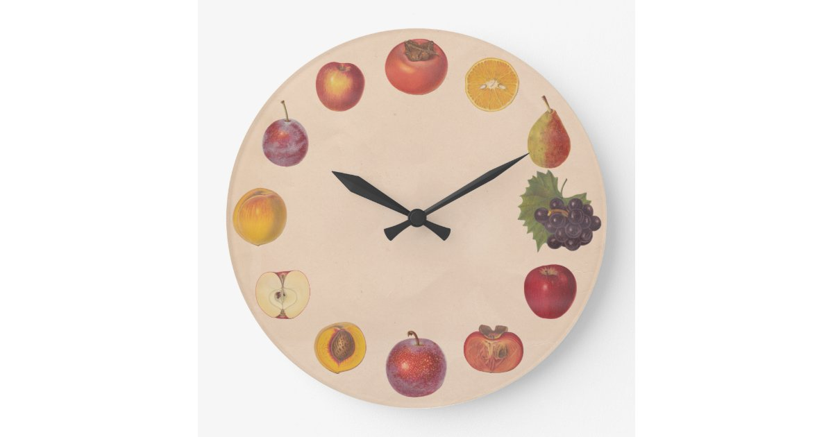 No Numbers Vintage Fruits Wall Clock Zazzle