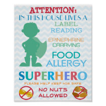 No Nuts Allowed Superhero Boy Sign for Home