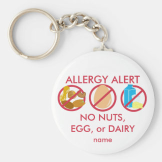 No Nuts Egg or Dairy Allergy Alert Keychain