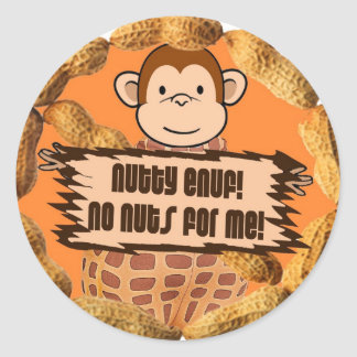 No Nuts for Me Classic Round Sticker