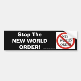 No NWO Logo, Stop The NEW WORLD ORDER Car Bumper Sticker