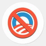 "NO ""O""/ningún Obama Etiqueta Redonda"