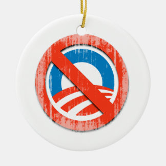 NO O NO (2) Faded.png Double-Sided Ceramic Round Christmas Ornament