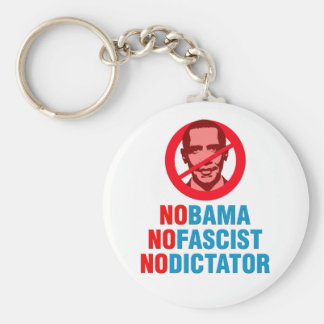 NO OBAMA NO FASCIST NO DICTATOR (v133x) Basic Round Button Keychain