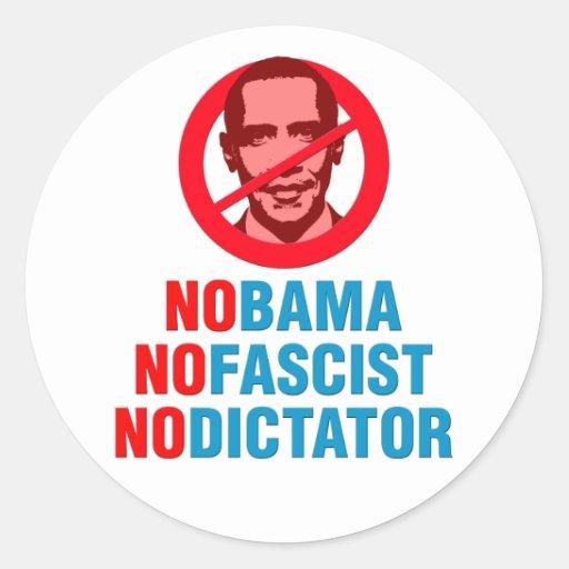 NO OBAMA NO FASCIST NO DICTATOR (v133x) Round Stickers