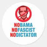 NO OBAMA NO FASCIST NO DICTATOR (v133x) Round Sticker