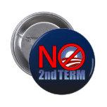 NO Obama Second Term Pin
