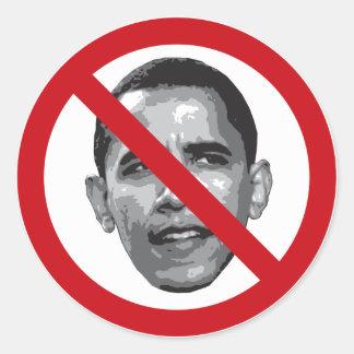 No Obama Round Stickers