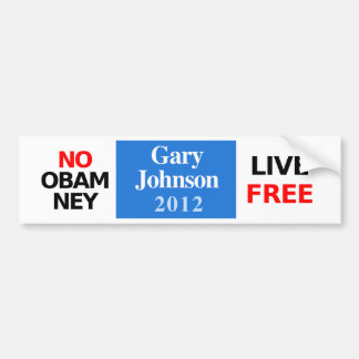 NO OBAMNEY Gary Johnson 2012 bumper sticker Car Bumper Sticker