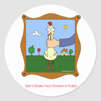 No obstruya su pollo pegatinas redondas