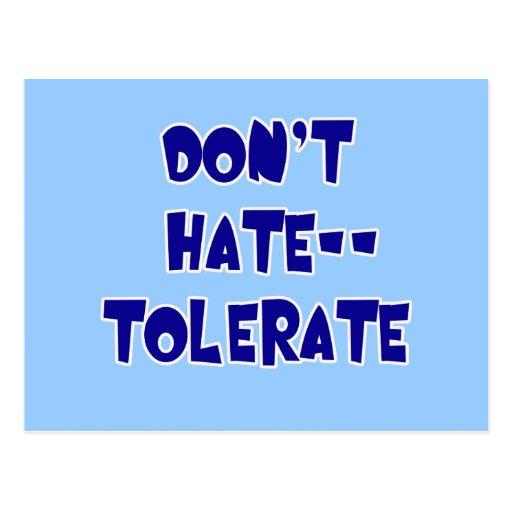 ¡No odie - tolere! Camisetas, tazas, botones Tarjetas Postales