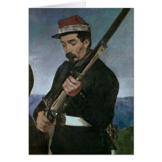 No oficial de Commissoned que sostiene su rifle Tarjeta De Felicitación