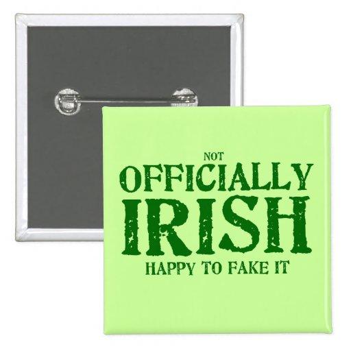 (no) oficialmente irlandés pin cuadrada 5 cm